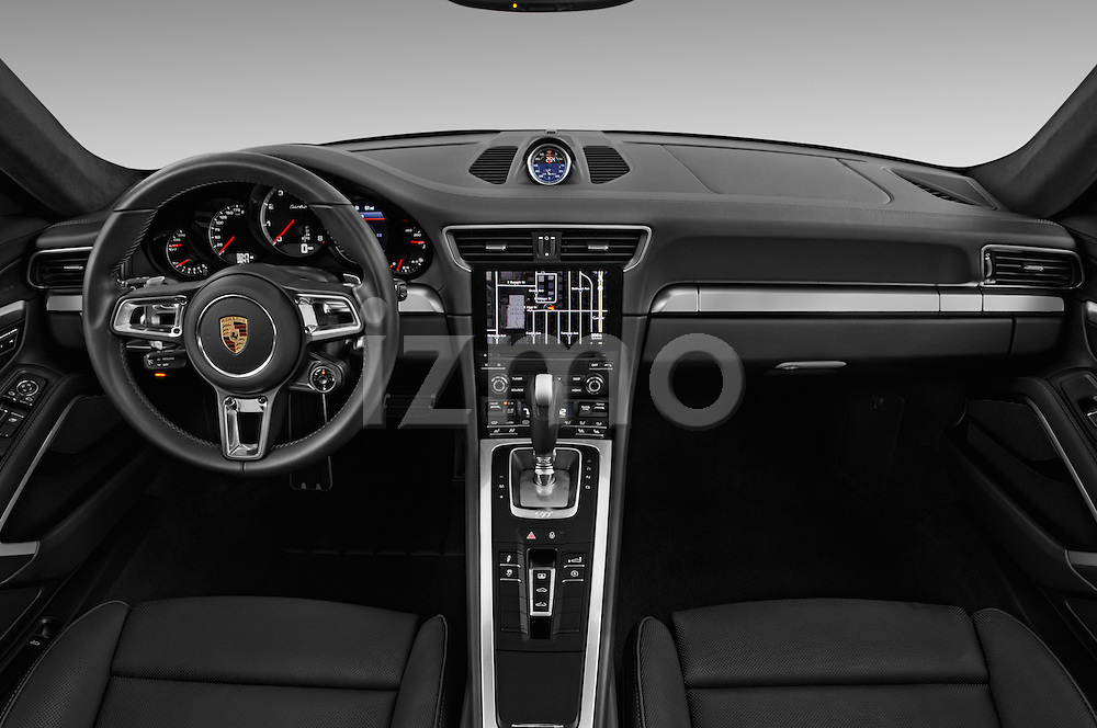 Stock photo of straight dashboard view of 2018 Porsche 911 Turbo 2 Door Coupe Dashboard