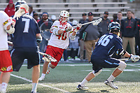 College Park, MD - March 18, 2017: Maryland Terrapins Connor Kelly (40) scores a goal during game between Villanova and Maryland at  Capital One Field at Maryland Stadium in College Park, MD.  (Photo by Elliott Brown/Media Images International)
