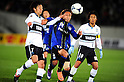 (L-R) Yuki Kobayashi (Jubilo), Shu Kurata (Gamba), Hiroki Yamada (Jubilo),.MARCH 25, 2011 - Football / Soccer :.2012 J.League Division 1 match between Gamba Osaka 1-2 Jubilo Iwata at Expo '70 Stadium in Osaka, Japan. (Photo by AFLO)