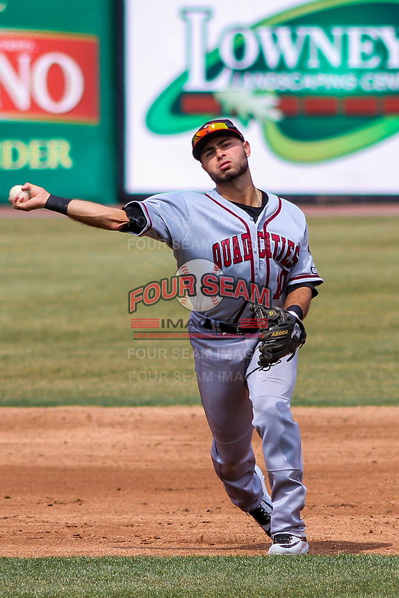 Quad Cities River Bandits infielder Alexander De Goti (10) throws to first during a Midwest League game against the Wisconsin Timber Rattlers on April 9, 2017 at Fox Cities Stadium in Appleton, Wisconsin.  Quad Cities defeated Wisconsin 17-11. (Brad Krause/Four Seam Images)