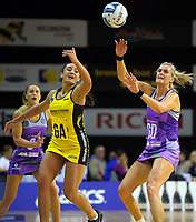 Tiana Metuarau and Leana de Bruin compete for the ball during the ANZ Premiership netball match between the Central Pulse and Northern Stars at TSB Bank Arena in Wellington, New Zealand on Monday, 8 May 2017. Photo: Dave Lintott / lintottphoto.co.nz