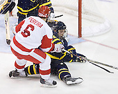 Joe Pereira (BU - 6), Fraser Allen (Merrimack - 2) - The visiting Merrimack College Warriors tied the Boston University Terriers 1-1 on Friday, November 12, 2010, at Agganis Arena in Boston, Massachusetts.