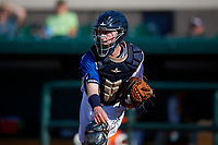 Lakeland Flying Tigers catcher Jon Rosoff (9) during a Florida State League game against the Fort Myers Miracle on August 3, 2019 at Publix Field at Joker Marchant Stadium in Lakeland, Florida.  Lakeland defeated Fort Myers 4-3.  (Mike Janes/Four Seam Images)
