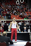 20 APR 2012: Dylan Akers of the University of Oklahoma celebrates after competing in the rings competition during the Division I Men's Gymnastics Championship held at the Lloyd Noble Center on the University of Oklahoma campus in Norman, OK. The University of Oklahoma finished in second place with a score of 357.45. Stephen Pingry/NCAA Photos
