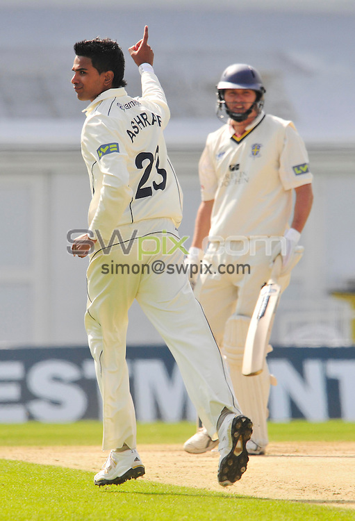 PICTURE BY SIMON WILKINSON/SWPIX.COM...Cricket - LV County Championship - Yorkshire v Durham, Day Two - Headingley, Leeds, England - 16/04/11...Yorkshire's Moin Ashraf bags the wicket of Durham's Gordon Muchall.