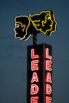 Neon sign for hair care shop on Fairfax Ave. in Los Angeles