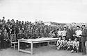 Iran 1953 .In the stadium of Sakkez, prizegiving to sportmen  in front officials  .Iran 1953 .Remise des prix a des sportifs au stade de Sakkez en presence d'officiels