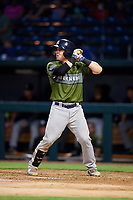 Biloxi Shuckers catcher Tyler Heineman (8) at bat during a game against the Jacksonville Jumbo Shrimp on June 8, 2018 at Baseball Grounds of Jacksonville in Jacksonville, Florida.  Biloxi defeated Jacksonville 5-3.  (Mike Janes/Four Seam Images)