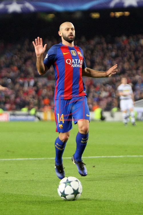 UEFA Champions League 2016/2017 - Matchday 6.<br /> FC Barcelona vs VfL Borussia Monchengladbach: 4-0.<br /> Javier Mascherano.