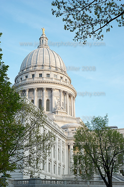 Trees budding during spring frame the Wisconsin State Capitol in downtown Madison, Wis., on May 8, 2008..Photo © Jeff Miller 2008 - all rights reserved.www.jeffmillerphotography.com  ?  608-250-2374.Date: 05/08   File#: D3 digital camera frame 0059