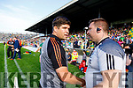 Kerry manager Éamonn Fitzmaurice and Kildare manager Cian O'Neill after the GAA Football All-Ireland Senior Championship Quarter-Final Group 1 Phase 3 match between Kerry and Kildare at Fitzgerald Stadium in Killarney, on Saturday evening.