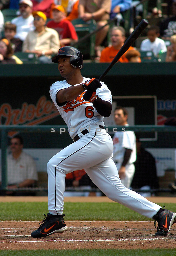 Melvin Mora in action during the Baltimore Orioles v. Tampa Bay Devil Rays game on May 1, 2005.....Orioles won 7-4.....Chris Bernacchi/Sportpics..