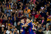 9th September 2017, Camp Nou, Barcelona, Spain; La Liga football, Barcelona versus Espanyol; Luis Suarez of FC Barcelona celebrates with Jordi Alba the goal from Leo Messi for 1-0