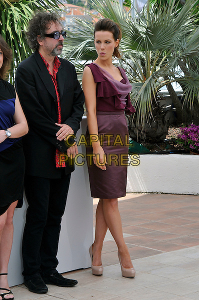 TIM BURTON, KATE BECKINSALE.attending the Jury Photocall at the Palais des Festivals during the 63rd Annual Cannes International Film Festival, Cannes, France, 12th May 2010..full length red print shirt blue tinted glasses sunglasses beard facial hair suit pink purple aubergine maroon dress ruffle folded top skirt sleeveless patent beige nude platform shoes heels .CAP/PL.©Phil Loftus/Capital Pictures.