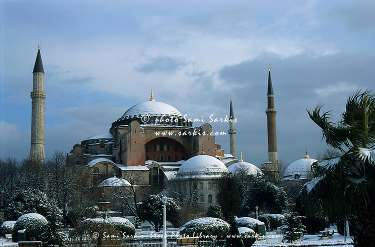 Snow on the Hagia Sophia, a former basilica and mosque, and now a museum in Istanbul, Turkey.
