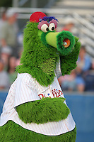 Batavia Muckdogs have the Phillie Phanatic on hand during a NY-Penn League game at Dwyer Stadium on August 4, 2006 in Batavia, New York.  (Mike Janes/Four Seam Images)
