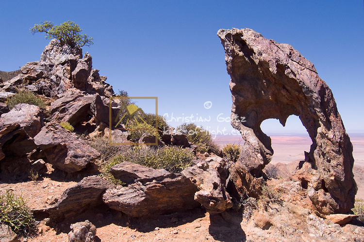 Africa Rock on Aurus Mountains with a view of the Roter Kamm Impact Crater