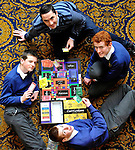 03-02-12:  Daragh Murphy of  t-shirt company, Hairy Baby  with students  (from left)  Domhnall Mac a tSíthigh, Barra Ó Súilleabháin and Conor Ó Briain Ó Sé,  Pobalscoil Chorcha Dhuibhne, Dingle  with their curriculum board game based on junior cert - which they  pitched as a business idea   at the Young Entrepreneur Programme Business Boot Camp at the Brandon Conference Centre Tralee on Friday. Picture: Eamonn Keogh (MacMonagle, Killarney)