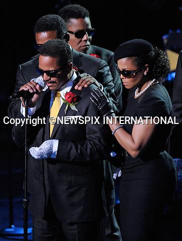 """MARLON JACKSON PAYS TRIBUTE TO HIS BROTHER MICHAEL, ACCOMPANIED BY JANET, JACKIE AND RANDY.Michael Jackson Memorial, Staples Center, Los Angeles_07/07/2009.Mandatory Photo Credit: ©MJP/Newspix International..**ALL FEES PAYABLE TO: """"NEWSPIX INTERNATIONAL""""**..PHOTO CREDIT MANDATORY!!: NEWSPIX INTERNATIONAL(Failure to credit will incur a surcharge of 100% of reproduction fees)..IMMEDIATE CONFIRMATION OF USAGE REQUIRED:.Newspix International, 31 Chinnery Hill, Bishop's Stortford, ENGLAND CM23 3PS.Tel:+441279 324672  ; Fax: +441279656877.Mobile:  0777568 1153.e-mail: info@newspixinternational.co.uk"""
