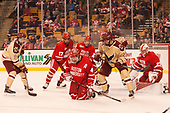 Colin White (BC - 18), Dante Fabbro (BU - 17), Brandon Hickey (BU - 4), Patrick Harper (BU - 21), Graham McPhee (BC - 27), Jake Oettinger (BU - 29) - The Boston University Terriers defeated the Boston College Eagles 3-1 in their opening Beanpot game on Monday, February 6, 2017, at TD Garden in Boston, Massachusetts.