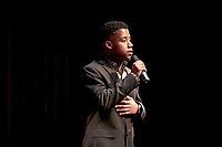 One of two presenters of the night, Rahsaan Middleton '19.<br /> Occidental College students perform and compete during Apollo Night, one of Oxy's biggest talent showcases, on Feb. 22, 2019 in Thorne Hall. Sponsored by ASOC and hosted by the Black Student Alliance as part of Black History Month.<br /> <br /> Photo by Alex Yawata '21, La Encina