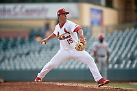 Palm Beach Cardinals pitcher Edgar Escobar (15) during a Florida State League game against the Clearwater Threshers on August 11, 2019 at Roger Dean Chevrolet Stadium in Jupiter, Florida.  Palm Beach defeated Clearwater 4-1.  (Mike Janes/Four Seam Images)