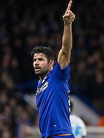 Diego Costa of Chelsea makes a point during the UEFA Champions League group G match between Chelsea and FC Porto at Stamford Bridge, London, England on 9 December 2015. Photo by Andy Rowland.