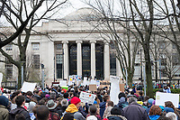 People march from MIT's campus in Cambridge to Boston, Massachusetts, after rallying at MIT during the March for Science demonstration on Sat., April 22, 2017.