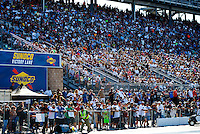 Jul 29, 2016; Sonoma, CA, USA; NHRA fans in the grandstands next to Sunoco Racing Fuel signage during qualifying for the Sonoma Nationals at Sonoma Raceway. Mandatory Credit: Mark J. Rebilas-USA TODAY Sports