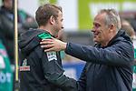 13.04.2019, Weser Stadion, Bremen, GER, 1.FBL, Werder Bremen vs SC Freiburg, <br /> <br /> DFL REGULATIONS PROHIBIT ANY USE OF PHOTOGRAPHS AS IMAGE SEQUENCES AND/OR QUASI-VIDEO.<br /> <br />  im Bild<br /> Florian Kohfeldt (Trainer SV Werder Bremen)<br /> Christian Streich (Trainer SC Freiburg)<br /> <br /> <br /> Foto &copy; nordphoto / Kokenge