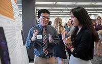 """Mechanisms of Adhesion Between Bacterial Pili Proteins and Chemically Diverse Surfaces Using Docking and Molecular Dynamics Simulations"" by Jeremy Leung<br /> (Mentor: Eileen Spain, Chemistry)<br /> Occidental College's Undergraduate Research Center hosts their annual Summer Research Conference, Aug. 1, 2018. Student researchers presented their work as either oral or poster presentations at the final conference. The program lasts 10 weeks and involves independent research in all departments.<br /> (Photo by Marc Campos, Occidental College Photographer)"