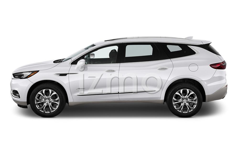 Car driver side profile view of a 2018 Buick Enclave Avenir 5 Door SUV