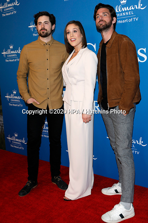 LOS ANGELES - FEB 11:  Chris McNally, Erin Krakow, Kevin McGarry at the 'When Calls the Heart' TV show season 7 premiere at the Beverly Wilshire Hotel on February 11, 2020 in Beverly Hills, CA