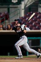 Kyle Gaedele #12 of the Lake Elsinore Storm bats against the Inland Empire 66'ers at San Manuel Stadium on June 23, 2013 in San Bernardino, California. Lake Elsinore defeated Inland Empire, 6-2. (Larry Goren/Four Seam Images)