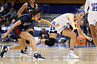 DURHAM, NC - NOVEMBER 29: Haley Gorecki #2 of Duke University and Kayla Padilla #45 of the University of Pennsylvania chase a loose ball during a game between Penn and Duke at Cameron Indoor Stadium on November 29, 2019 in Durham, North Carolina.
