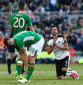 June 11th 2017, Dublin, Republic Ireland; 2018 World Cup qualifier, Republic of Ireland versus Austria;  Florian Grillitsch of Austria on his knees after a missed shot on the Irish goal