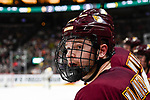 ST PAUL, MN - APRIL 7: Matt Anderson #21 of the Minnesota-Duluth Bulldogs watches gameplay against the Notre Dame Fighting Irish during the Division I Men's Ice Hockey Championship held at the Xcel Energy Center on April 7, 2018 in St Paul, Minnesota. (Photo by Tim Nwachukwu/NCAA Photos via Getty Images)