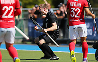 Stephen Jenness celebrates a goal during the Olympic Qualifier Hockey match between the Blacksticks Men and Korea at TET Multisport Centre in Stratford, New Zealand on Saturday, 2 November 2019. Photo: Simon Watts / www.bwmedia.co.nz