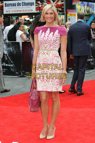 Jenni Falconer <br /> &quot;The Wolverine&quot; UK Premiere, Empire Leicester Square, London, England.<br /> 16th July 2013<br /> full length white pink purple fuchsia  dress green bag purse floral print<br /> CAP/BEL<br /> &copy;Tom Belcher/Capital Pictures