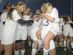 (Worcester Ma 111613) Newburyport celebrates after winning the game, during the MIAA State Girls Soccer Division Three final, between Newburyport High and Granby High, Newburyport won the game 1-0, Saturday at Foley Stadium in Worcester. (Jim Michaud Photo) For Sunday