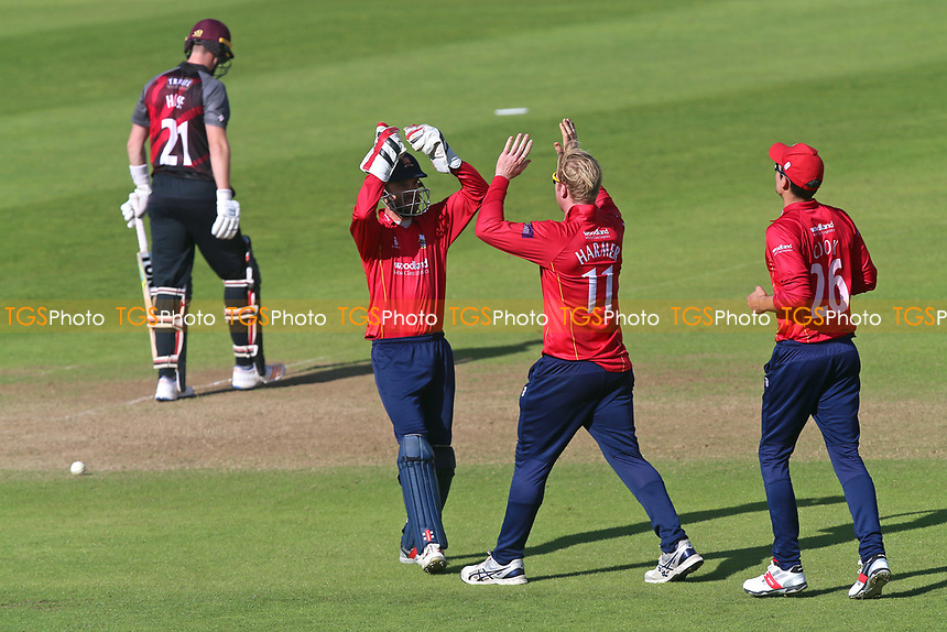 Simon Harmer of Essex is congratulated by his team mates after taking the wicket of Adam Hose during Somerset vs Essex Eagles, Royal London One-Day Cup Cricket at The Cooper Associates County Ground on 14th May 2017