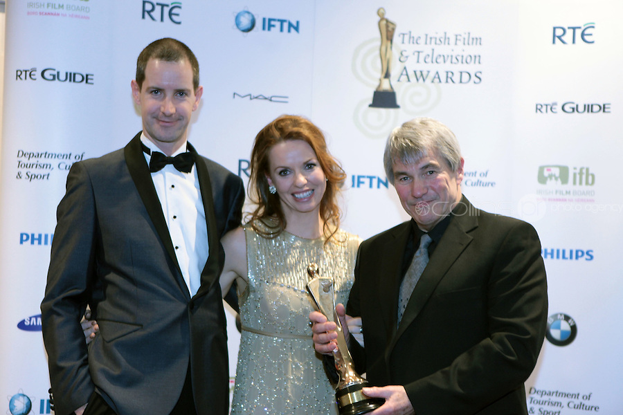 12/2/11 Adrian Lynch, Janet Traynor and Mike Malott, Best Documentary Series for Freefal: The Night the Banks Failed, at the 8th Irish Film and Television Awards at the Convention centre in Dublin. Picture:Arthur Carron/Collins