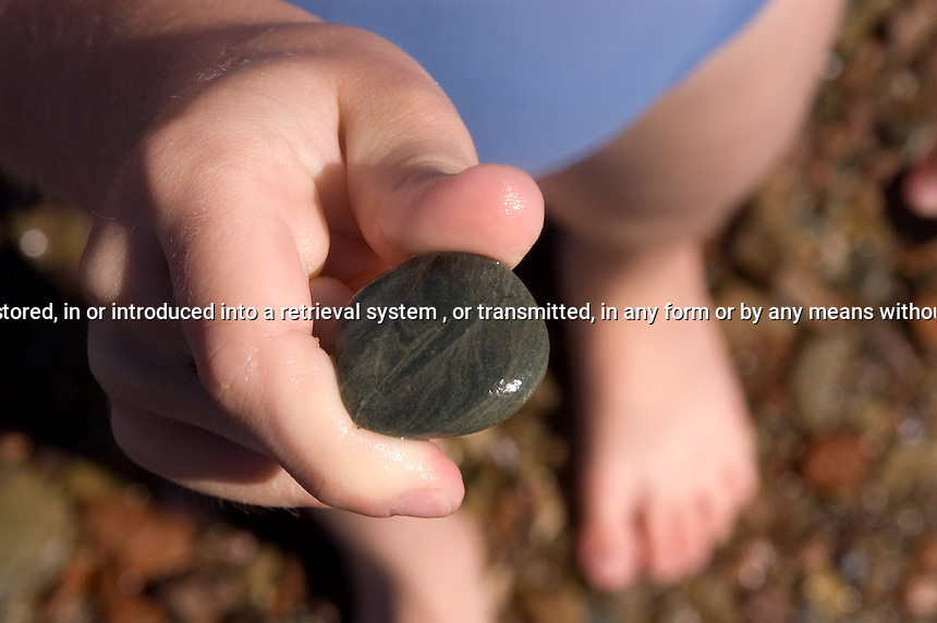 Young girl holding  aa wet stone at Five Island Provincial Park Nova Scotia Canada North America