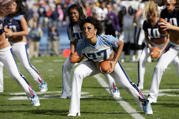 Titans cheerleaders entertain the crowd during a break in the action at LP Field in Nashville, Tennessee on November 12, 2006. The Baltimore Ravens won 27-26.