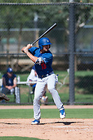 Los Angeles Dodgers infielder Luke Heyer (13) at bat during an Instructional League game against the San Diego Padres at Camelback Ranch on September 25, 2018 in Glendale, Arizona. (Zachary Lucy/Four Seam Images)