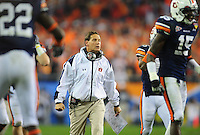 Jan 10, 2011; Glendale, AZ, USA; Auburn Tigers head coach Gene Chizik during the 2011 BCS National Championship game against the Oregon Ducks at University of Phoenix Stadium. The Tigers defeated the Ducks 22-19. Mandatory Credit: Mark J. Rebilas-