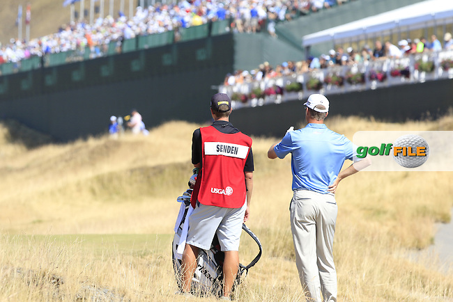 John SENDEN (AUS) prepares to play his 2nd shot on the 18th hole during Sunday's Final Round of the 2015 U.S. Open 115th National Championship held at Chambers Bay, Seattle, Washington, USA. 6/22/2015.<br /> Picture: Golffile | Eoin Clarke<br /> <br /> <br /> <br /> <br /> All photo usage must carry mandatory copyright credit (&copy; Golffile | Eoin Clarke)