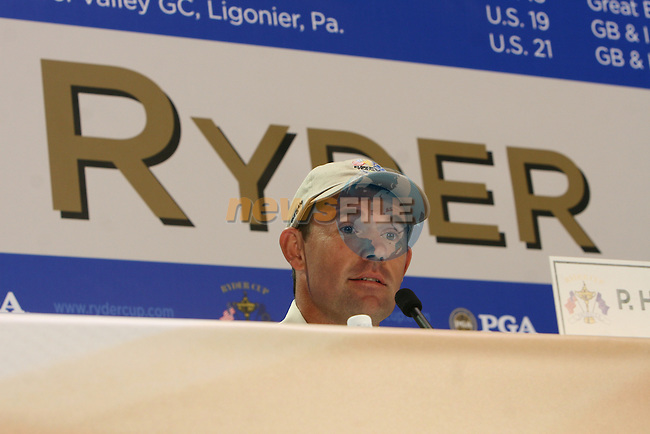 The 37th Ryder cup from Valhalla Golf Club in Louisville, Kentucky..Three time major champion Padraig Harrington giving his first press conference at the Ryder cup, media reporters tried to draw Harrington on his relationship with team Captain Faldo...Photo: Fran Caffrey/www.golffile.ie.