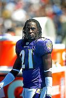 Sep. 20, 2009; San Diego, CA, USA; Baltimore Ravens cornerback (21) Lardarius Webb against the San Diego Chargers at Qualcomm Stadium in San Diego. Baltimore defeated San Diego 31-26. Mandatory Credit: Mark J. Rebilas-