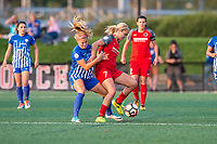 Boston, MA - Sunday September 10, 2017: Rosie White, Lindsey Horan during a regular season National Women's Soccer League (NWSL) match between the Boston Breakers and Portland Thorns FC at Jordan Field.